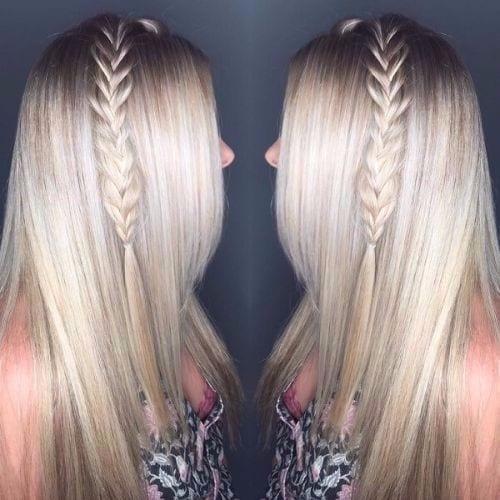 thick braid on ash blonde hair