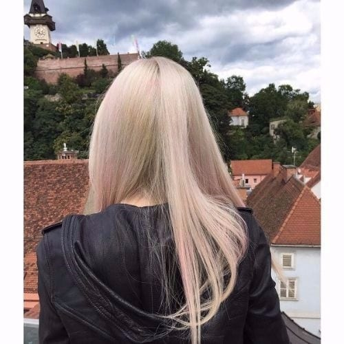 Ash Blonde with Pink Highlights