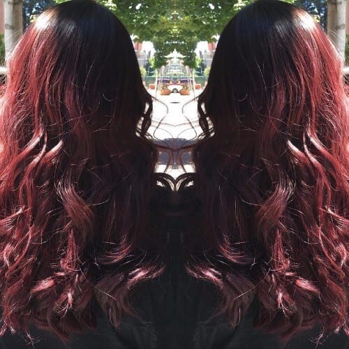 long wavy burgundy hair