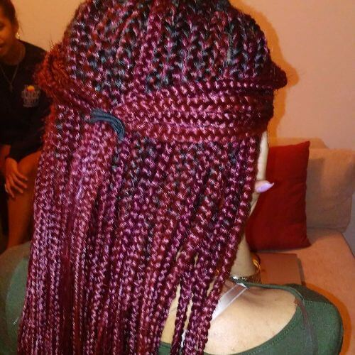 box braids halfdo