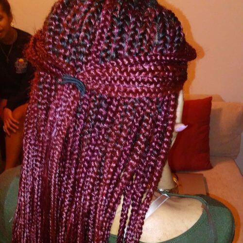 box braids halfdo