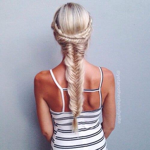 dirty blonde hair fishtail braid