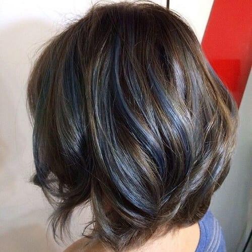 Brown Hair Color with Pastel Blue Streaks