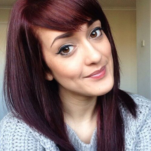 straight red brown hair