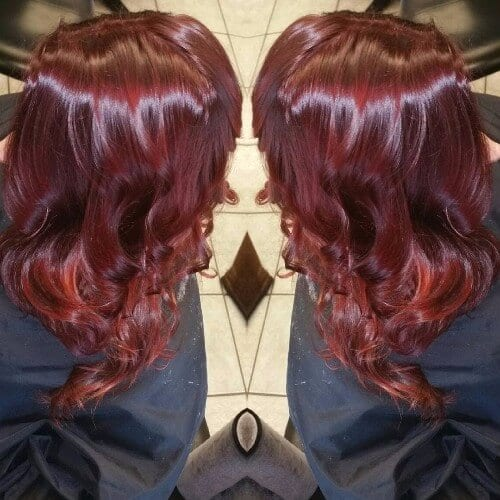 cherry burgundy hair