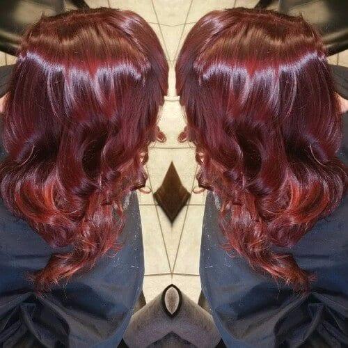 cherry burgundy hair
