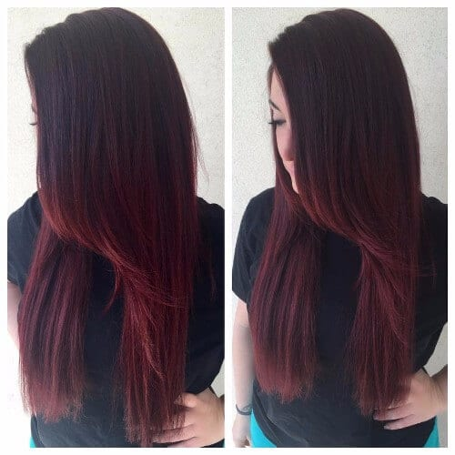 long burgundy hair
