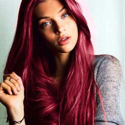 cherry burgundy hair long hairstyle