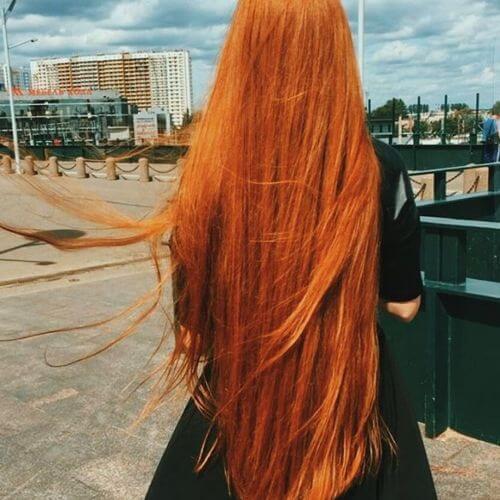 intense copper brown hair