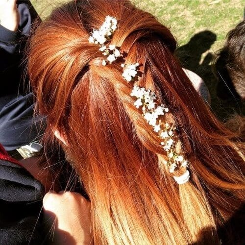 copper brown braided hair