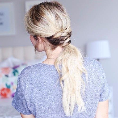 dirty blonde messy ponytail