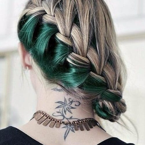 green undercolor braided blonde hair