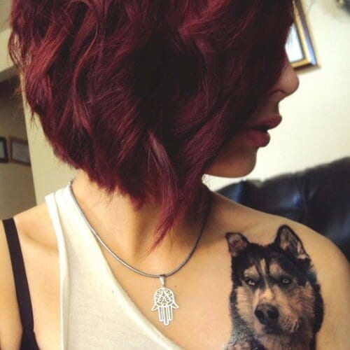 Short Bob Maroon Red