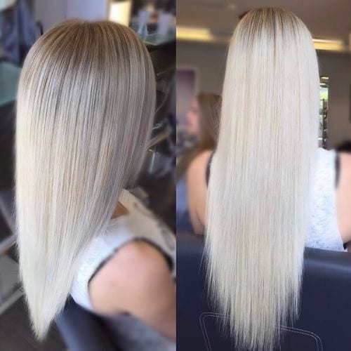 smooth long ash blonde hair