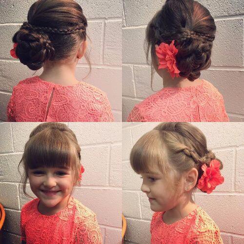 little girls hairstyles high braided bun