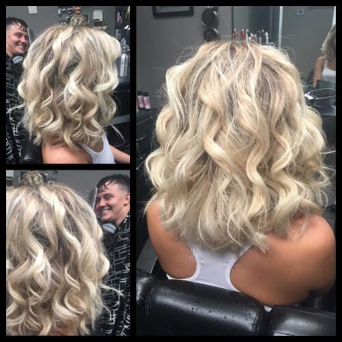 layered curly bob dirty blonde hair