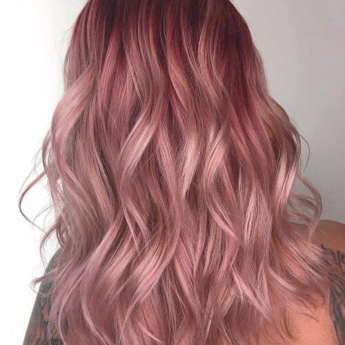 layered pastel pink hair