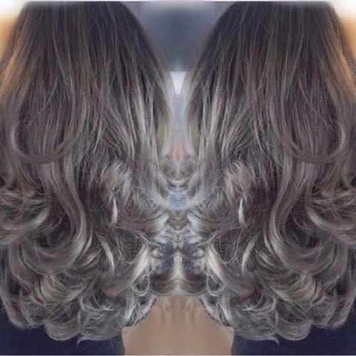dark brown hair ash blonde hair