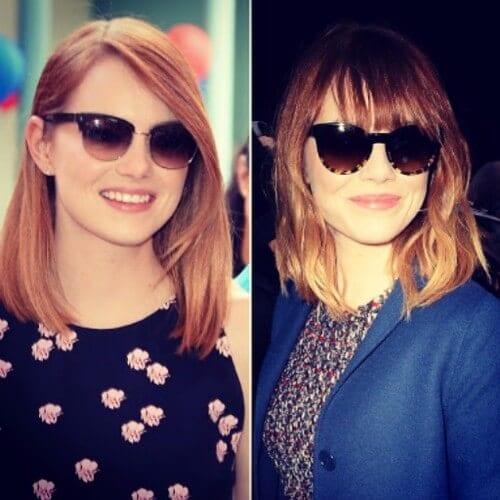 light burgundy hair Emma stone