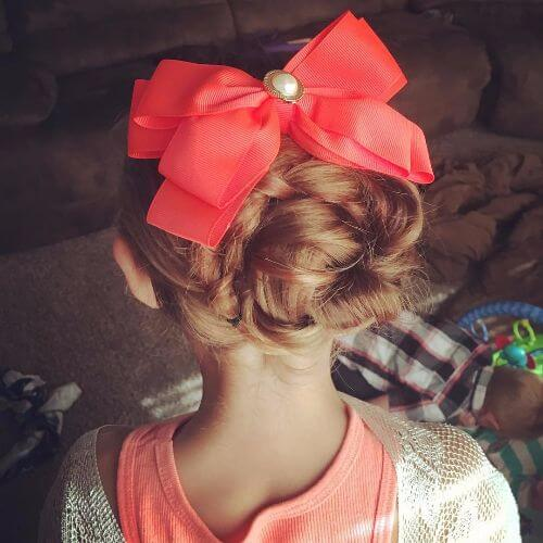 high bun with bow little girls hairstyles