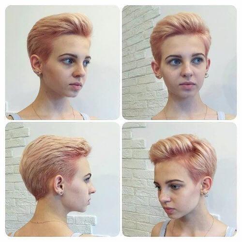 rose blonde pixie cut
