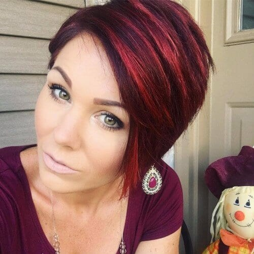 short maroon hair pixie cut