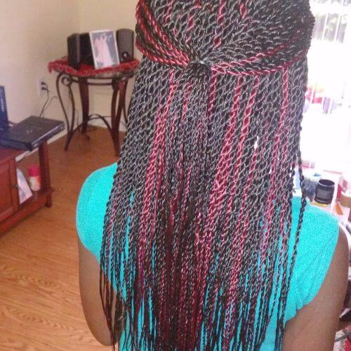 black and red senegalese twists