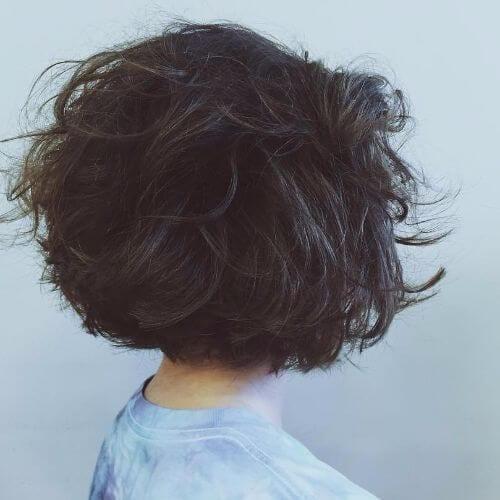 cropped bob on natural brown hair