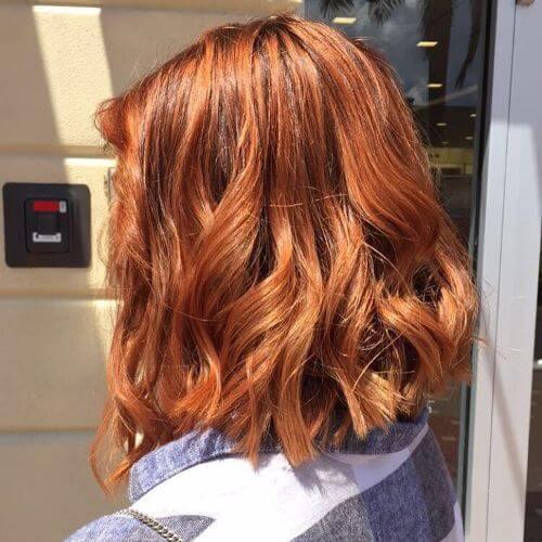 copper blonde lob cut