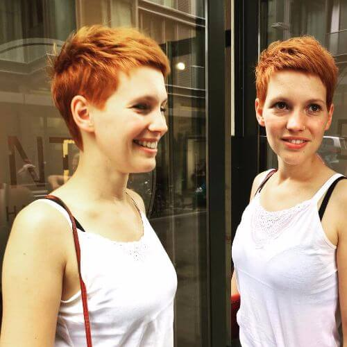 dark strawberry blonde pixie