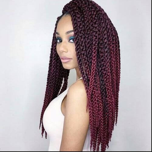 Burgundy Box Braids