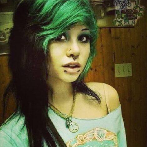 green highlights on black hair scene hairstyle