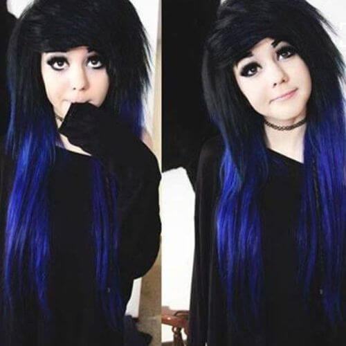 long black and blue hairstyle