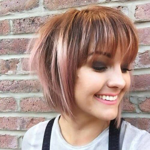 short bob haircut with caramel hair color