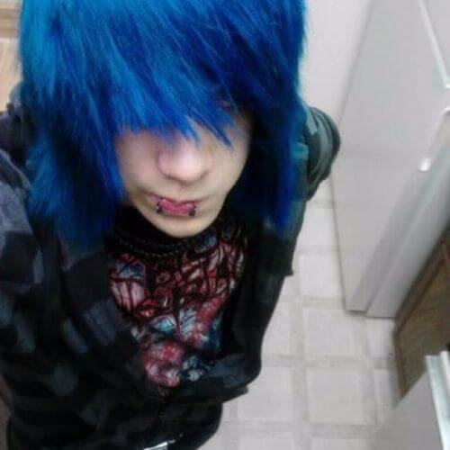 blue fringe hair