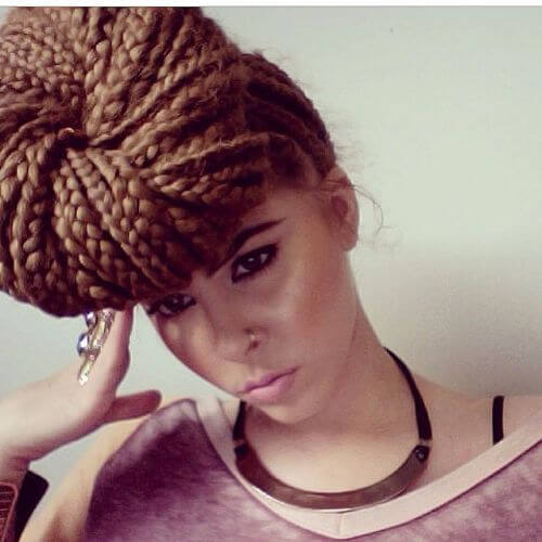 Box Braids Side Knot Bun Hairstyle