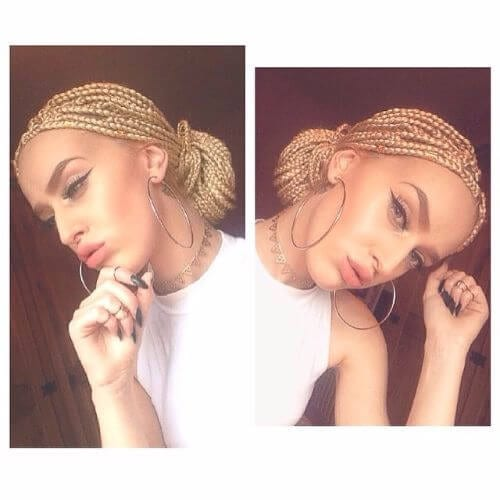 blonde box braids bun