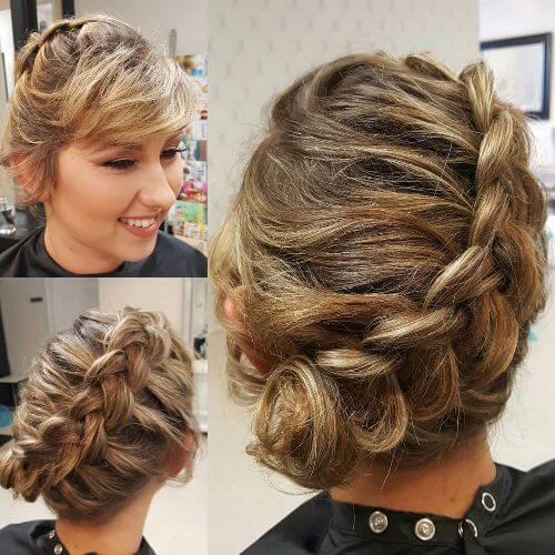 short hair braided updos