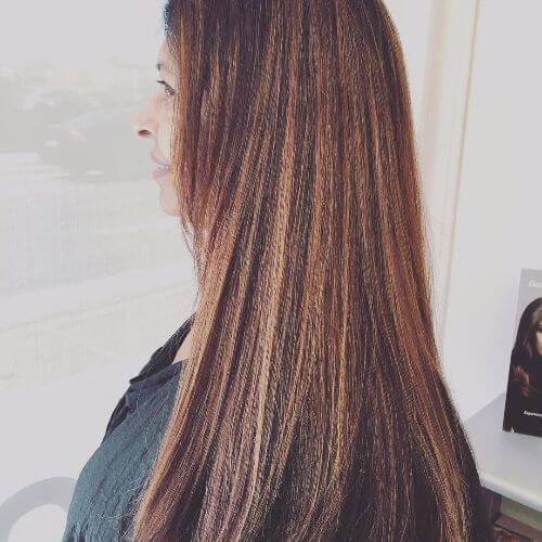 long brown hair with blonde caramel highlights