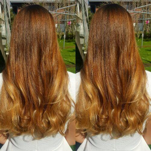 intense blonde caramel hair color