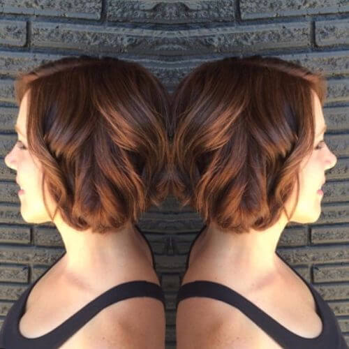 caramel hair color on short hair