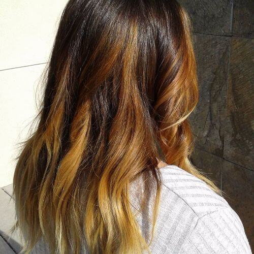 caramel balayage on long hair