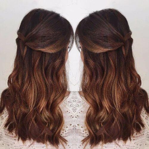 dark caramel ombre on long hair