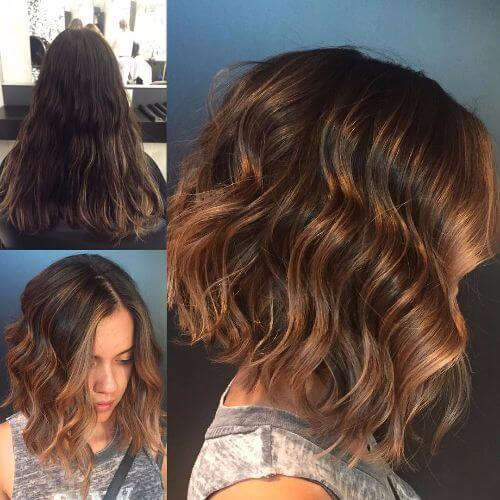 chocolate caramel hair color on short wavy hair