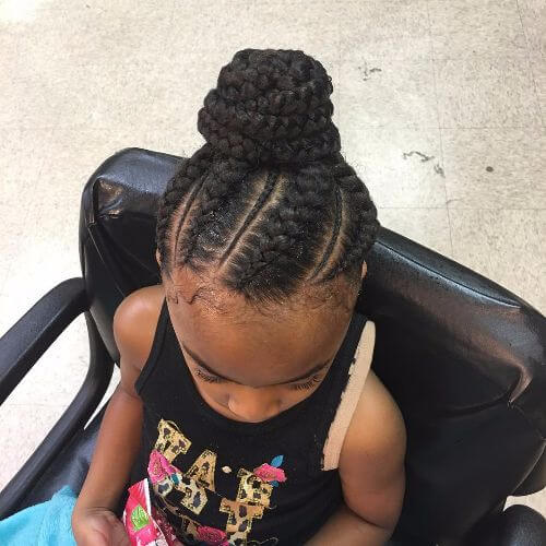 twist braids high bun