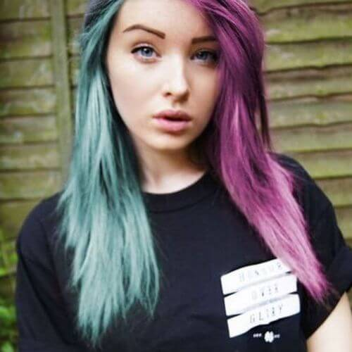 emo hairstyles for girls green and purple emo hair
