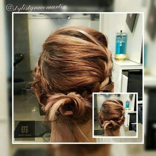 low bun romantic updo for short hair