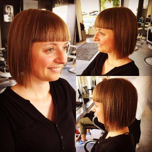 caramel bob hairstyle with bangs
