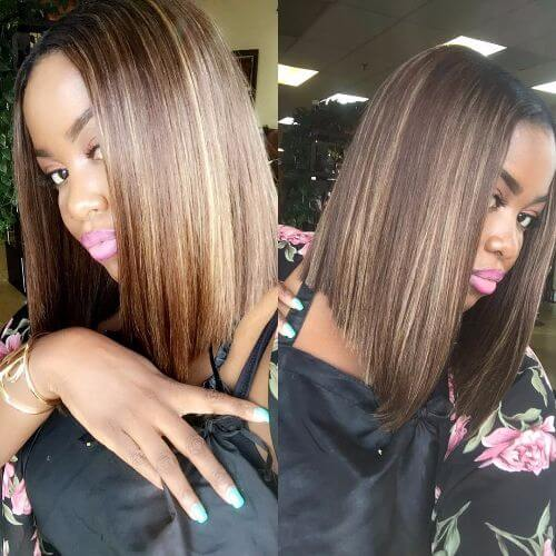 straight brown hair with caramel highlights