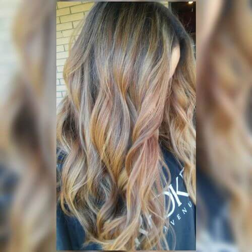 caramel hair colors blended in caramel balayage